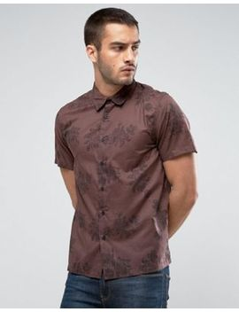 New Look Regular Fit Shirt With Floral Print In Brown by New Look
