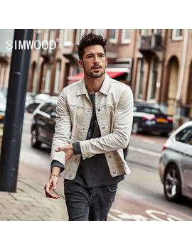 Simwood Denim Jackets Men 2018 Spring  New 100 Percents Cotton Slim Fit Men's Jean Jacket Coats Plus Size Brand Clothing Nk017001 by Simwood