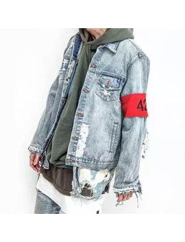 Parkside Wind 424 Broken Holes Denim Jacket Male Hip Hop Ripped Oversized Mens Denim Jacket 424 Destoryed Jackets Coat Smc0280 5 by Black Pop Store