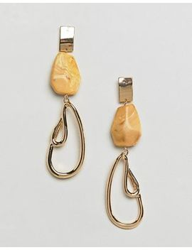 Asos Design Resin And Abstract Metal Drop Earrings by Asos Design