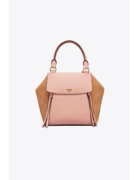 Half Moon Mixed Materials Satchel by Tory Burch