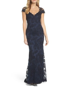 Embroidered Corded Lace Gown by Tadashi Shoji