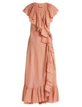 Callella Ruffled Cotton Wrap Dress by Loup Charmant