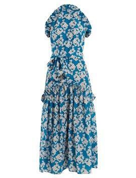 Dora Bouquet Print Ruffle Trimmed Crepe Dress by Borgo De Nor