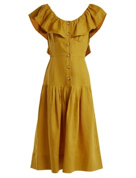 Goldie Dropped Waist Ruffled Neck Linen Dress by Sea