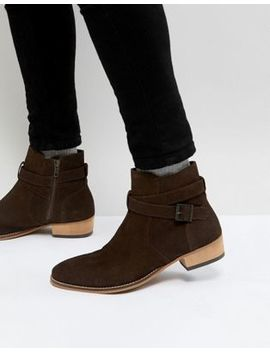 Asos Chelsea Boot In Brown Suede With Stacked Heel And Strapping Detail by Asos