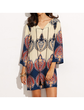 Zanzea Women Long Sleeve Loose Casual Ethnic Floral Short Mini Dress Plus Tops by Zanzea