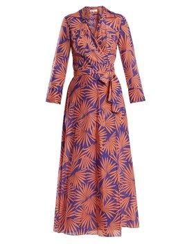 Graphic Print Cotton Blend Wrap Midi Dress by Diane Von Furstenberg