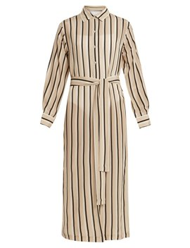 Point Collar Striped Silk Crepe Shirtdress by Asceno