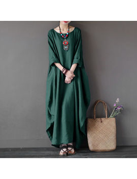 Zanzea Women Crew Neck Loose Casual Solid Cotton Baggy Oversized Long Maxi Dress by Zanzea