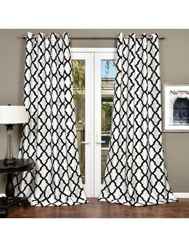 Lambrequin Trellis Bold Flocked Curtain Panel by Generic