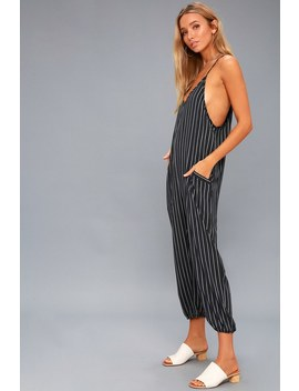 Embarcadero Navy Blue And White Striped Midi Jumpsuit by Lulus