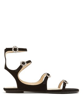 Naia Crystal Embellished Suede Sandals by Jimmy Choo