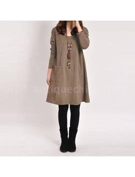 Korean Women Long Sleeve Loose V Neck Casual Tunic Shirt A Line Dress G5 P1 by Unbranded/Generic