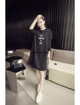 Korean Women Casual Crew Neck Long Sleeve A Line Shirt Tunic Blouse Dress Jumper by Supersellsn
