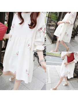 Korean Women Casual Cotton Linen Floral A Line Slim Loose Tunic Summer Dress 2 Xl by Dreamstyleshow