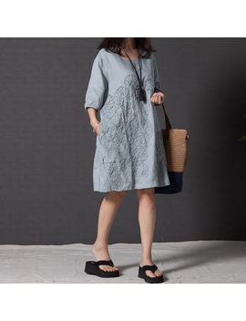 Womens Casual Short Sleeve Loose Cotton Linen Solid Shirt A Line Tunic Dress by Unbranded