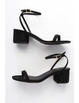 Julie Black Suede Ankle Strap Heels by Lulus