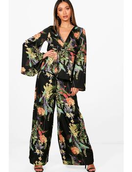 Ana Floral Wide Leg Trouser And Kimono Co Ord by Boohoo