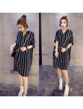 M 5 Xl Korean Chic Women Casual Loose V Neck Tunic Button Down Shirt Summer Dress by Dreamstyleshow