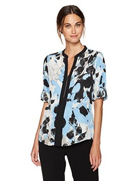 Calvin Klein Women's Print Roll Sleeve Top With Block And Zip by Calvin Klein