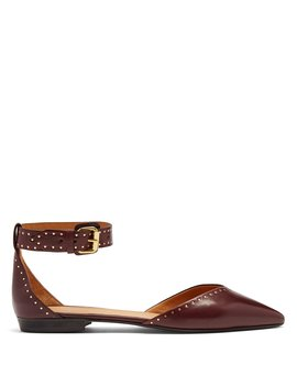 Lya Stud Embellished Point Toe Leather Flats by Isabel Marant