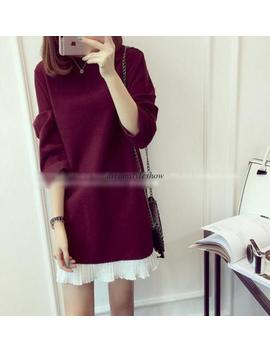 Spring Korean Women Casual A Line Loose Long Sleeve Pullover Shift Tunic Dress by Dreamstyleshow