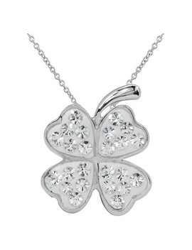 "Women's Silver Plated Crystal 4 Leaf Clover Pendant White 18"" by Target"