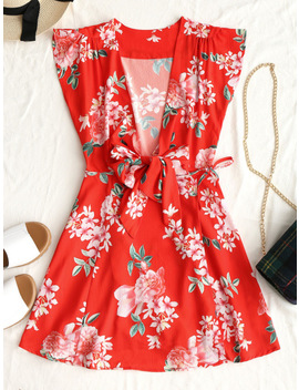 Zan.Style Women Tied Wrap Floral Mini Dress Sleeveless Deep V Neck Bowknot Retro Dresses 2018 Summer Flower Print Dress Vestidos by Zan.Style Official Store
