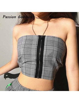 Vintage Women Plaid Zipper Smocked Tube Top Strapless Tank Tops Sexy Shirred Crop Top Strapless Slim Summer Off Shoulder 2018 by Passionate Goddess Store