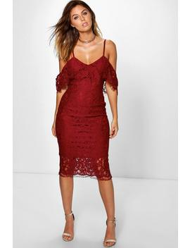 Jess Lace Open Shoulder Midi Dress by Boohoo