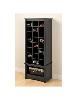 Tall Shoe Cubbie Cabinet Black   Prepac by Prepac