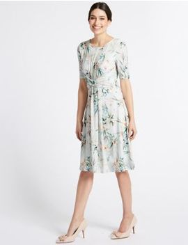 Floral Print Twisted Detail Swing Dress by Per Una