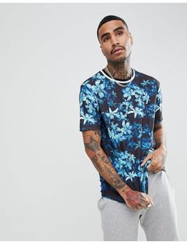 Asos Design Relaxed T Shirt In Floral With Tipped Rib by Asos
