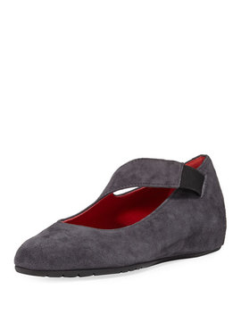 Rian Asymmetric Comfort Wedge Flat, Gray by Neiman Marcus