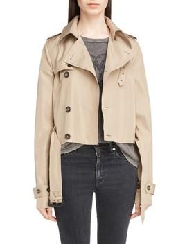 Cotton Gabardine Crop Trench Jacket by Saint Laurent