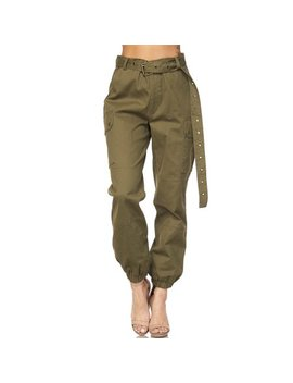 Womens Military Look Comfortable Camouflage Cargo Jogger Pants 21524 S Olive by Genx
