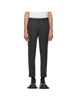 Black & Grey Wool Herringbone Trousers by Comme Des GarÇons Homme Plus