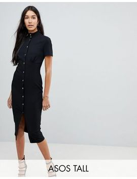Asos Tall Corset Midi Dress With High Neck & Popper Details by Asos Tall