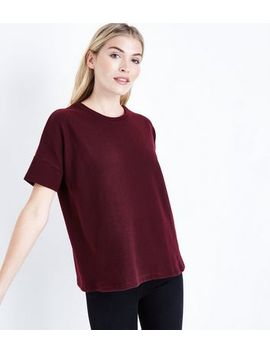 Burgundy Brushed Oversized T Shirt by New Look