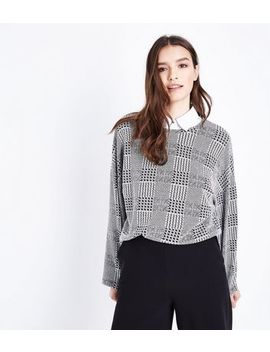 Grey Check Long Sleeve Top by New Look