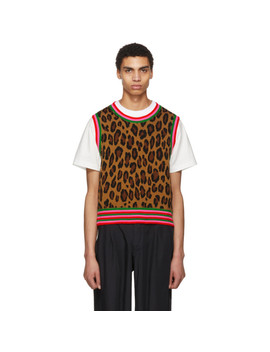 Tan Leopard Knit Vest by Comme Des GarÇons Homme Plus