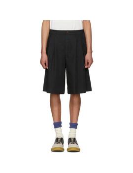 Black Twill Pleated Shorts by Comme Des GarÇons Homme Plus