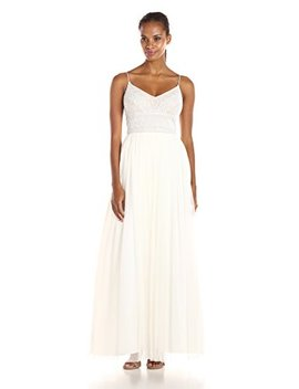 Adrianna Papell Women's Sleeveless V Neck Beaded Top Gown by Adrianna Papell