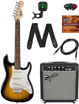 Squier By Fender Short Scale Stratocaster Pack With Frontman 10 G Amp, Cable, Strap, Picks, And Online Lessons   Brown Sunburst Bundle With Austin Bazaar Instructional Dvd by Fender