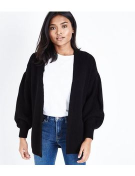 Petite Black Balloon Sleeve Cardigan by New Look