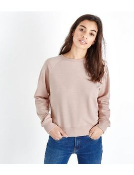 Petite Pale Pink Cropped Sweatshirt by New Look