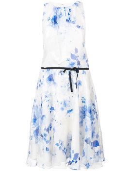 Printed Belt Dress by Monique Lhuillier