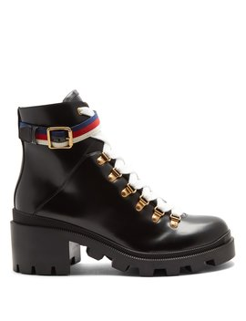Lace Up Leather Ankle Boots by Gucci