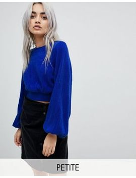 Fashion Union Petite Bishop Sleeve Cropped Knitted Sweater by Fashion Union Petite